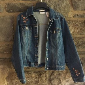 Embroidered Liz Claiborne Blue Jean Jacket (12/L)